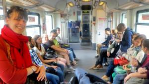 Stipendiaten im Zug