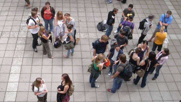 Studierendengruppen von oben